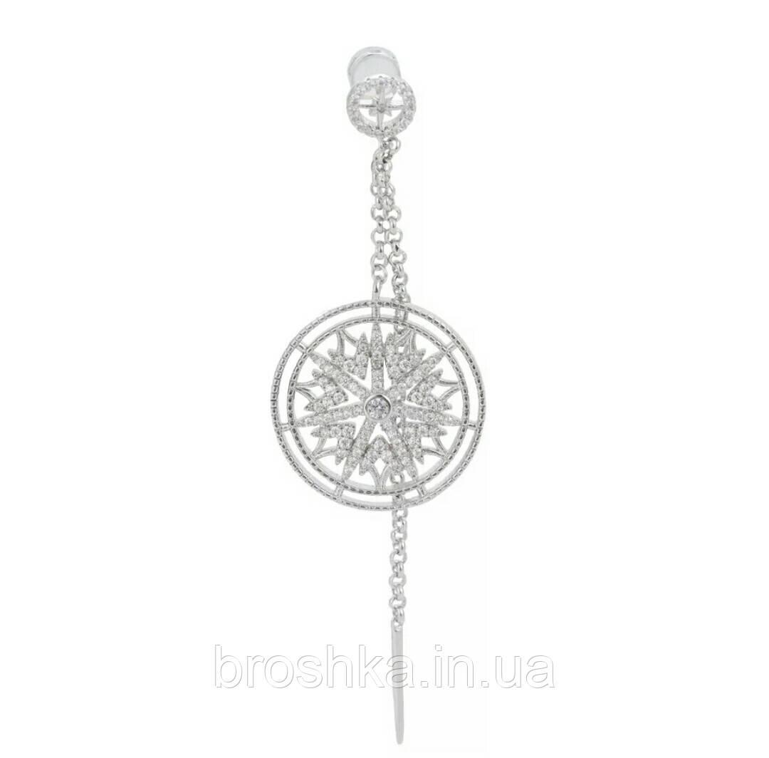 Моносерьга узор Mandala ювелирная бижутерия