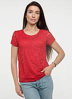 Гипюровая блузка женская блуза трикотажная летняя больших размеров, красная