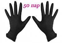 Перчатки нитриловые черные SafeTouch® Advanced Black без пудры 100 штук (50 пар) размер L, фото 1