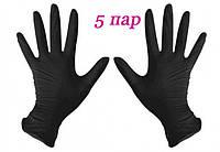 Перчатки нитриловые черные SafeTouch® Advanced Black без пудры 10 штук (5 пар) размер L, фото 1