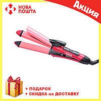 Плойка - утюжок  для волос 2 в 1 Nova NHC | выпрямитель щипцы Нова, фото 1