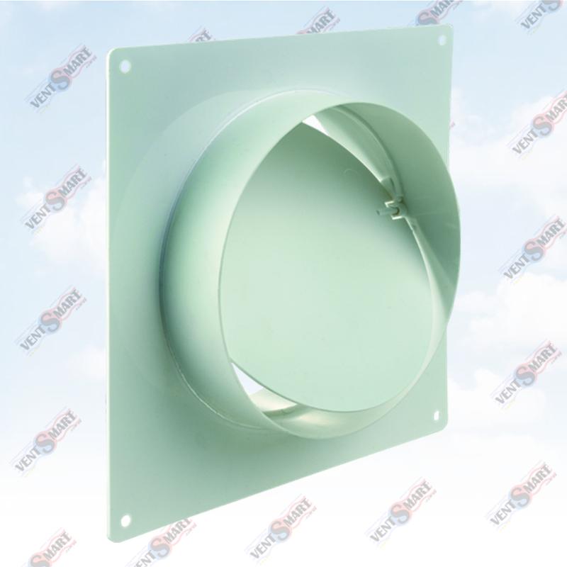 Внешний вид соединителей настенных с обратным клапаном для круглых пластиковых вентиляционных труб ПЛАСТИВЕНТ производства ВЕНТС (Украина). Вентиляционный соединитель настенный с клапаном против обратного потока для круглых каналов системы Пластивент изготовлены из пластика высокого качества, который не поддерживает горение и имеет широкий температурный диапазон эксплуатации ― от -30 до +70 градусов Цельсия.