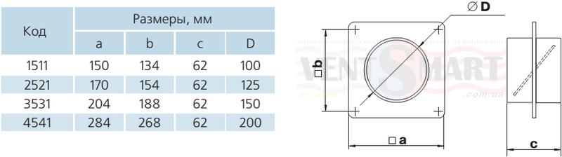 Габаритные типоразмеры настенных монтажных соединителей с обратным клапаном для круглых каналов (воздуховодов) системы Пластивент. Соединители настенные с обратным клапаном имеют различные присоединительные диаметры: 100, 125, 150 и 200 мм. Стеновые пластины-соединители с обратным клапаном предлагаются для покупки по минимальной цене в интернет-магазине вентиляции ventsmart.com.ua