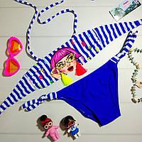 Яркий детский раздельный купальник с рисунком, синий, фото 1