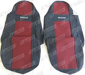 Авточехлы MAN TGS 1+1 2007- (красные) VIP ЛЮКС Nika