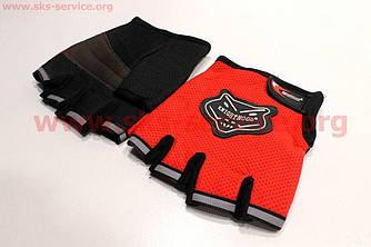 Спортивные перчатки без пальцев L-красные