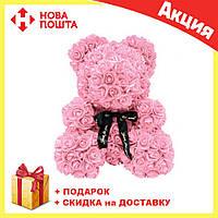 Красивый мишка из латексных 3D роз 40 см с лентой в подарочной коробке   Пудра