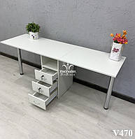 Складной маникюрный стол для двух мастеров, Модель V470 белый, фото 1