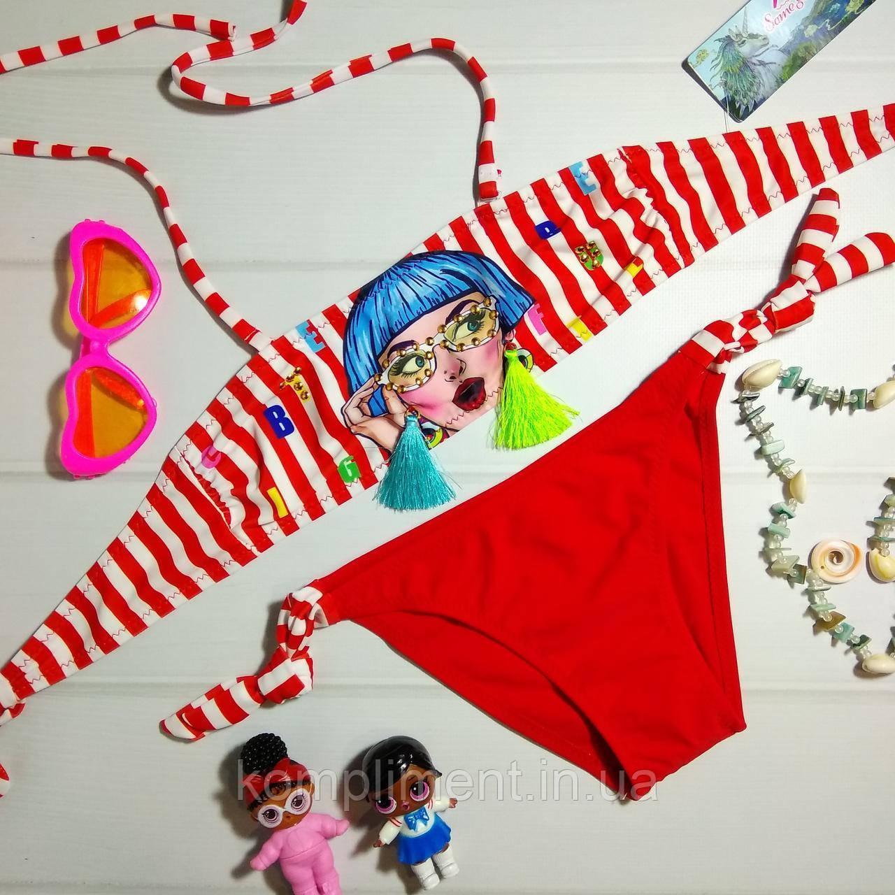 Яркий детский раздельный купальник с рисунком, красный