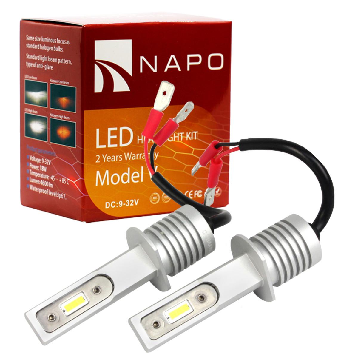 Лампа светодиодная NAPO Model V  H1  4600 Lum/комплект, цвет свечения белый, 2 шт/комплект. Гарантия 2 года.