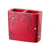 Стакан для зубных щеток керамика красный BLOOM 02872