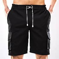 Шорты мужские черные YSTB с накладными карманами на резинке (рип-стоп, шорты-карго, спортивные, модные), фото 1