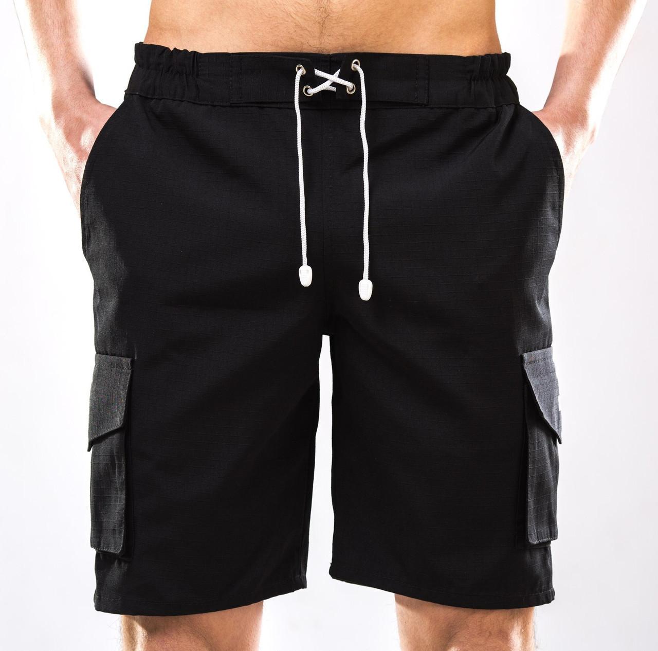 Шорты мужские черные YSTB с накладными карманами на резинке (рип-стоп, шорты - 8f025df62dc