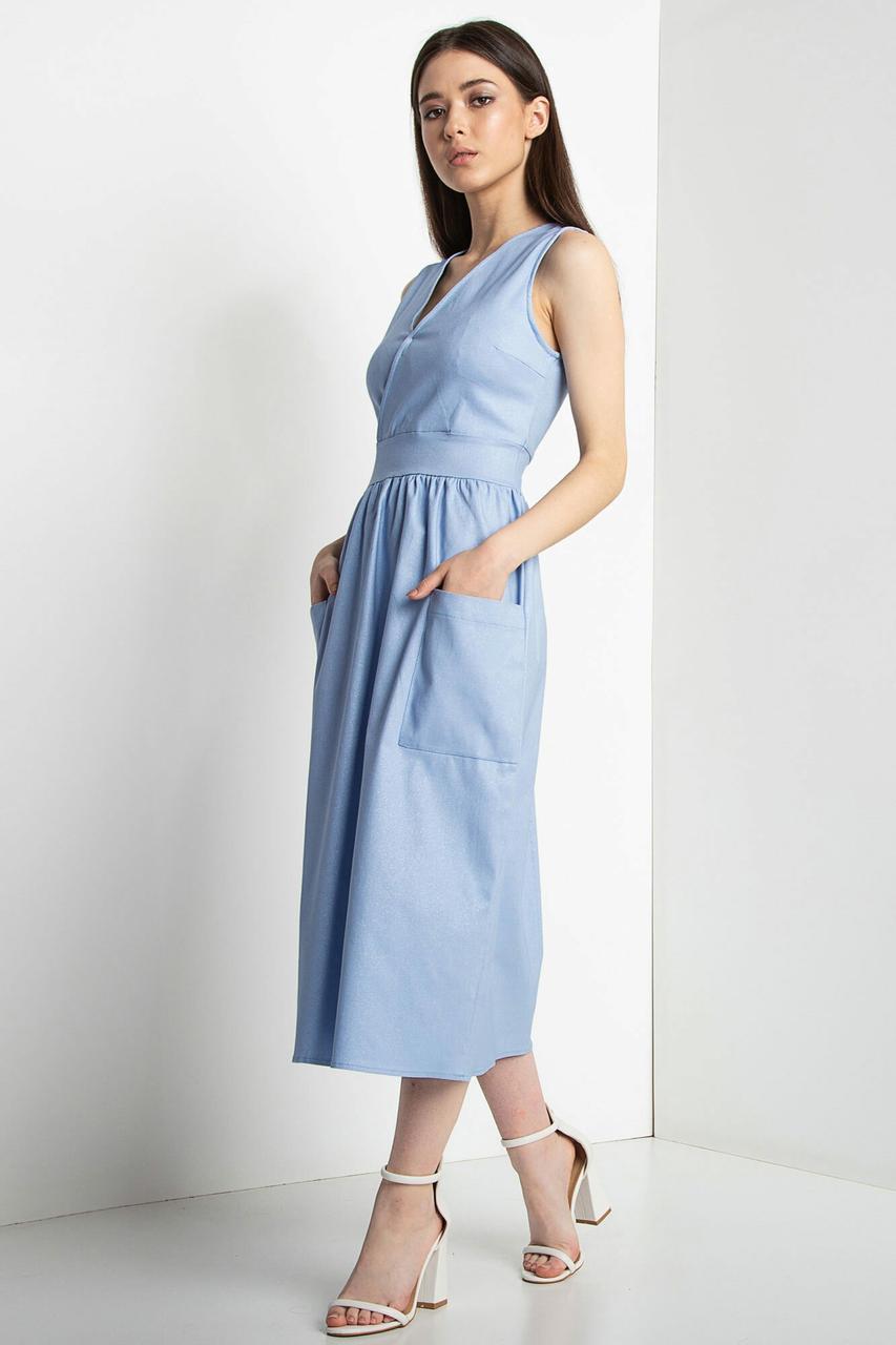 Голубое платье KLARA с лифом на запАх, накладными карманами и блеском