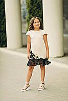 Летнее платье для девочки цвета шампань