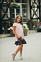 Розовое платье с красивым гипюром