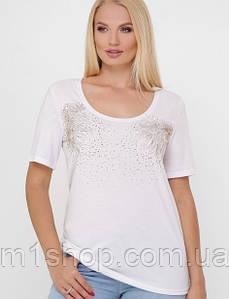 Женская футболка с аппликацией из камней больших размеров(Bristol2 fup)