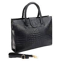 Женская деловая кожаная сумка Borsa Leather 10t1001-black