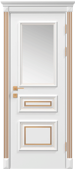 Двери Родос Siena Rossi стекло, белый мат, патина