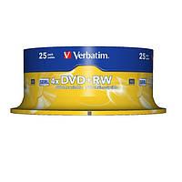 Диски DVD+RW 25 шт. Verbatim, 4.7Gb, 4x, Cake Box (43489)