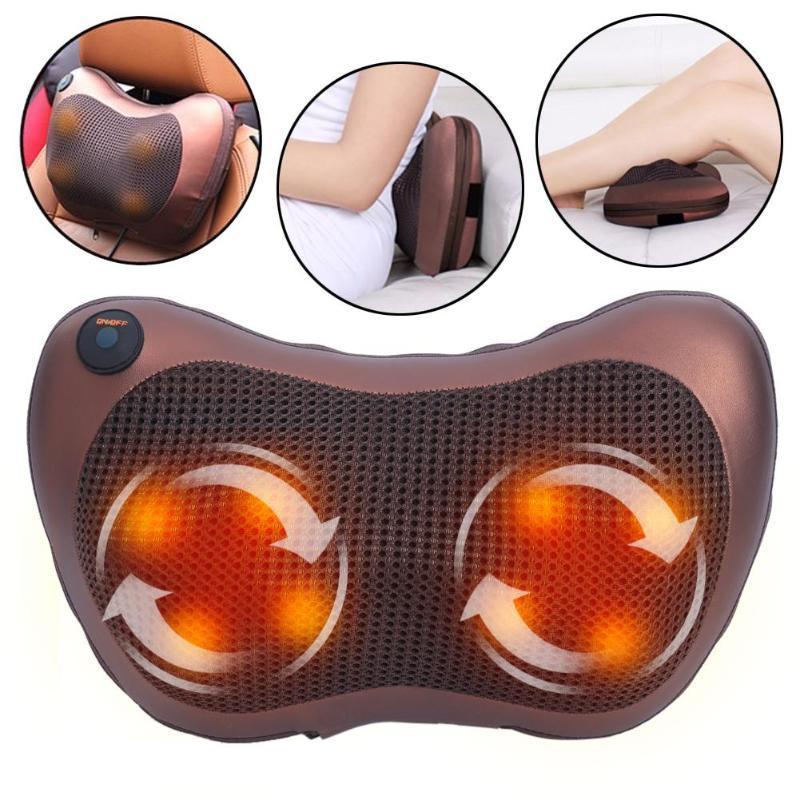 Массажная подушка Massage Pillow 8028 для головы и шеи Массажер Подушка для Массажа в авто Роликовый массажер