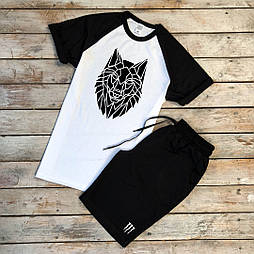 Мужской летний комплект шорты и футболка Monster мужская белая с черным. Живое фото
