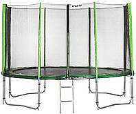 Батут Atleto 374 см с двойными ногами с сеткой зеленый (21000702)
