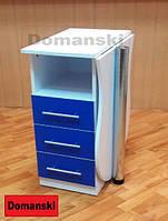 Маникюрный стол бело - синий с ящиками столешница фигурная складывается.
