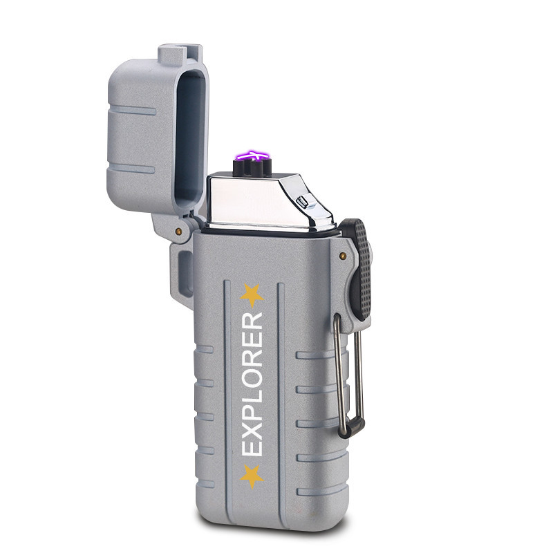 Вологозахищена електроімпульсна запальничка SUNROZ DK-8039 Explorer USB Срібний (SUN3814)