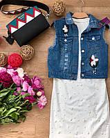 Жилет джинсовый женский, стильный, 211-022