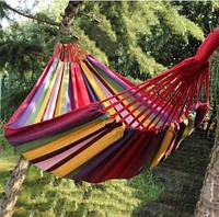 Гамак Мексиканский тканевый подвесной 200см х 80см с чехлом до 150 кг Оранжевая полоска