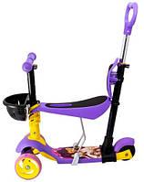 Самокат Maraton 3D Swift с родительской ручкой, усиленные колеса, сиреневый