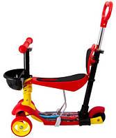 Самокат Maraton 3D Swift с родительской ручкой, усиленные колеса, красный