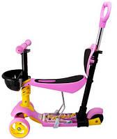 Самокат Maraton 3D Swift с родительской ручкой, усиленные колеса, розовый