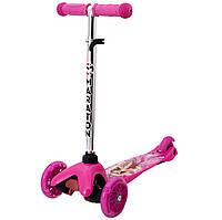 Детский 3-х колесный самокат Maraton Mini светящиеся колеса , цвет розовый, рисунок Барби до 35кг, фото 1