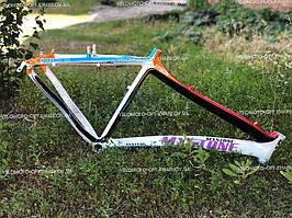 Рама MX Stone велосипедная алюминиевая, цветная. Цельная и обтекаемая. Ростовка 17