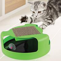 Когтеточка-игрушка для кошек и котят Cat & Mouse Chase Toy с мышкой зеленый цвет