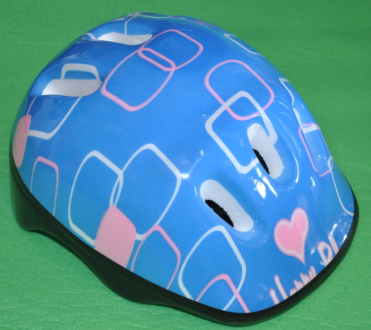 Шлем лдля роликів, скейтборда дитячий MS 0014 голубий з квадратами