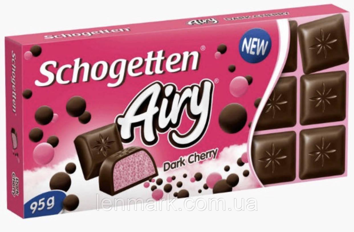 Черный шоколад Schogetten Airy Dark Cherry | с пористой вишневой начинкой 95 г