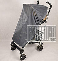 Сіра москітна сітка універсальна велика 120х60 для дитячої коляски люльки прогулянки всіх типів 3966 Сірий