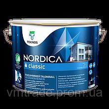 Краскадля дерева фасадная, акрилатная водоразбавляемая, Текнос Нордика классик (Teknos Nordica classic) 2,7л