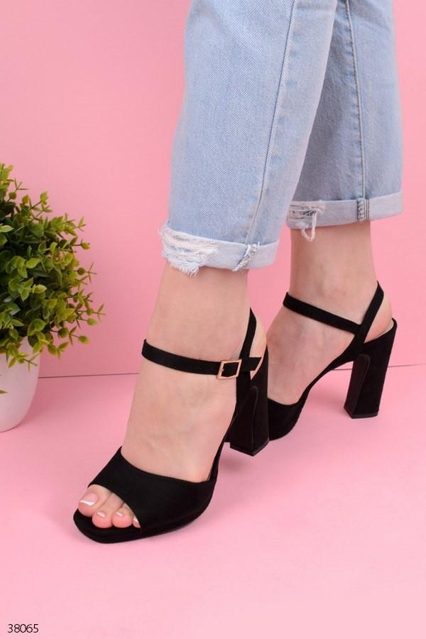 Босоножки женские черные на каблуке 10,5 см эко- замш