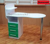 Маникюрный стол бело - зелёный с ящиками столешница фигурная складывается.