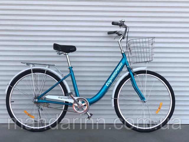 Прогулочный велосипед Топрайдер-810  26 дюймов. Дисковые тормоза. Бирюзовый.
