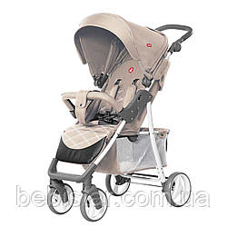 Детская прогулочная коляска с дождевиком бежевая, белая рама CARRELLO Quattro CRL-8502/2 Ivory Beige