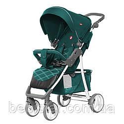 Детская прогулочная коляска с дождевиком зеленая, белая рама CARRELLO Quattro CRL-8502/2 Pine Green