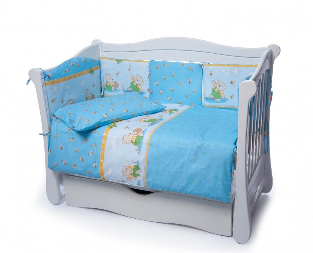 Детская постель Twins Comfort  Медуны голубой 4 элемента (бампер подушка пододеяльник простынь)