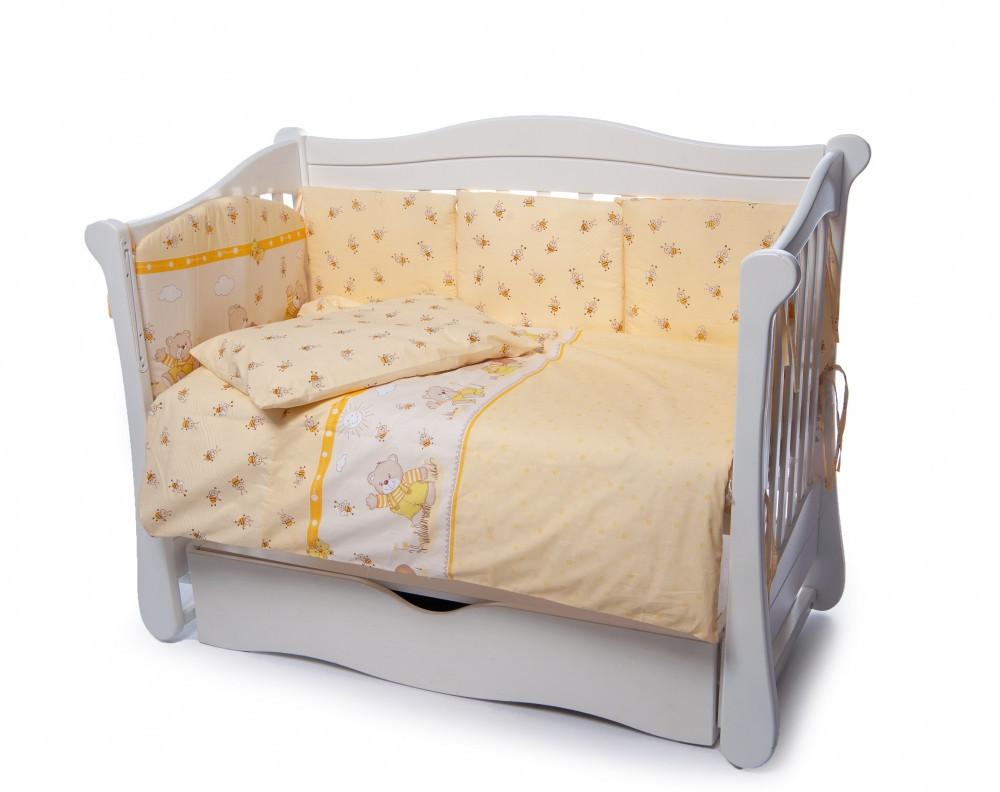 Детская постель Twins Comfort  Медуны желтый 4 элемента (бампер подушка пододеяльник простынь)