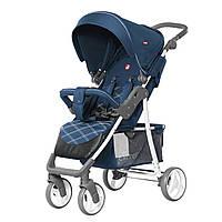 Детская прогулочная коляска с дождевиком синяя, белая рама CARRELLO Quattro CRL-8502/2 Navy Blue