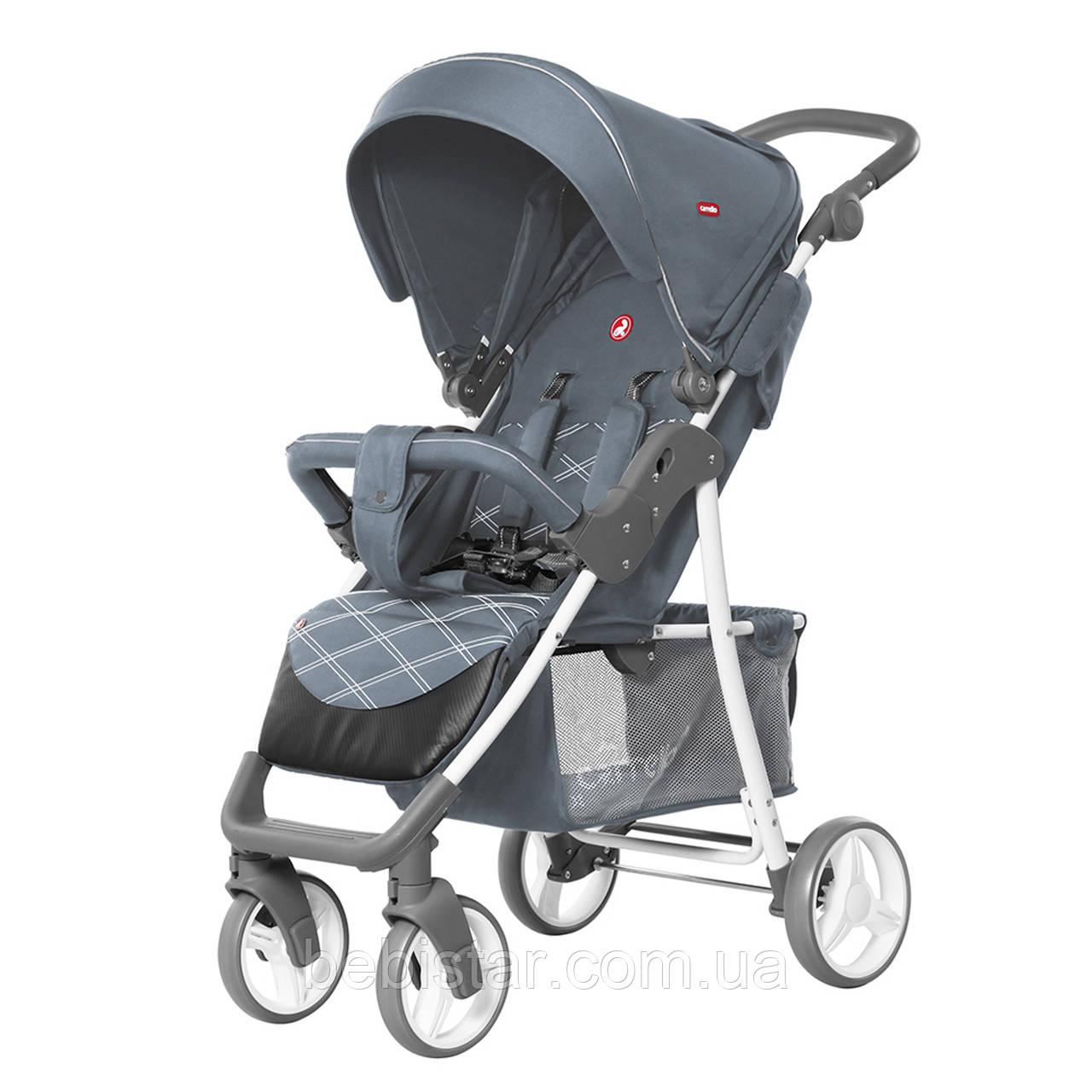 Детская прогулочная коляска с дождевиком серая, белая рама CARRELLO Quattro CRL-8502/2 Metal Gray